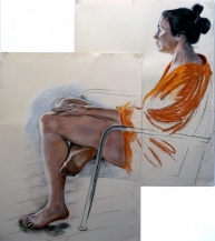 2 sheets seated model orange robe side view (909x1024)