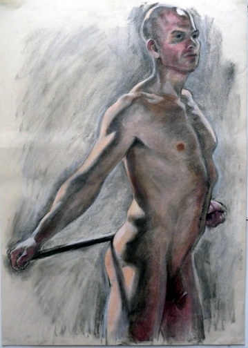 bald standing male nude bar held behind back (729x1024)