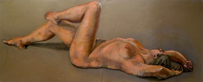 bronzed nude lying on back one foot on knee (1024x414)