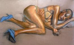 clothed Fola wearing bikini and blue high heels (1024x622)