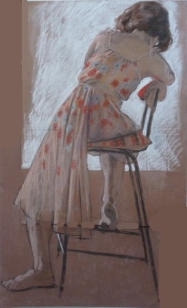 clothed model flower dress seated rear view (620x1024)