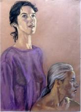 double porteait girl purple top grey hair mans head (745x1024)