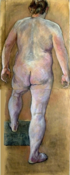 large male nude standing rear view left foot raised (412x1024)
