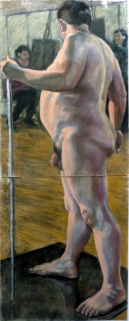 large male nude standing with stick on mat (410x1024)