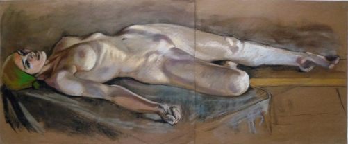 large nude lying down on back green headscarf (1024x426)