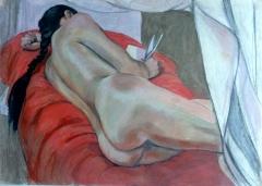 lnude lying down black pigtail red blanket (1024x732)
