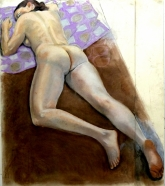 nude lying down on belly brown cloth purple pillow (905x1024)