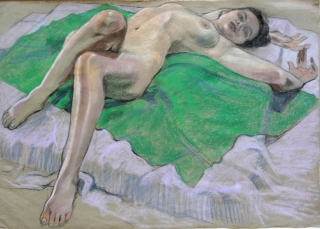 nude lying on back leg bent green cloth (1024x735)
