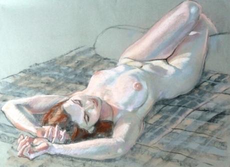 nude lying on check rug legs over cushion (1024x745)