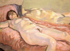 nude lying on pink blanket large round mirror (1024x723)