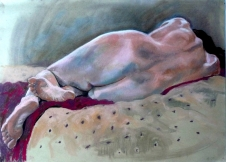 nude lying on red rug spotted bed back view (1024x735)