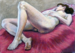 nude model lying down on red cushions (1024x724)
