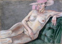 nude seated green chaise long pink hat (1024x732)
