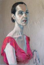 portrait dark haired model crimson dress (708x1024)