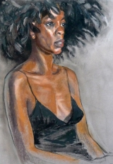 portrait Fola black feather hat and black slip (709x1024)