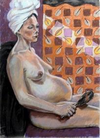 pregnant nude turban hand mirror screen (744x1024)