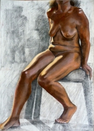 seated bronzed nude grey bachground (734x1024)