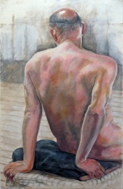 seated male nude bald rear view leaning back (667x1024)