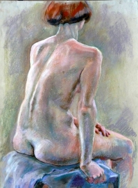 seated nude back view red hair (752x1024)
