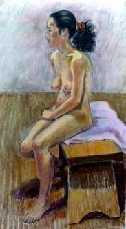 seated nude facing left black bushy ponytail (563x1024)