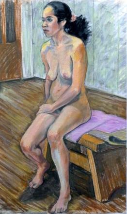 seated nude threequarter view black bushy ponytail (609x1024)