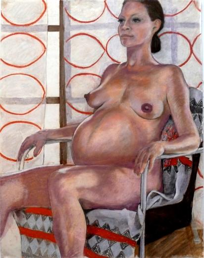 seated pregnant nude orange ovals backcloth (811x1024)